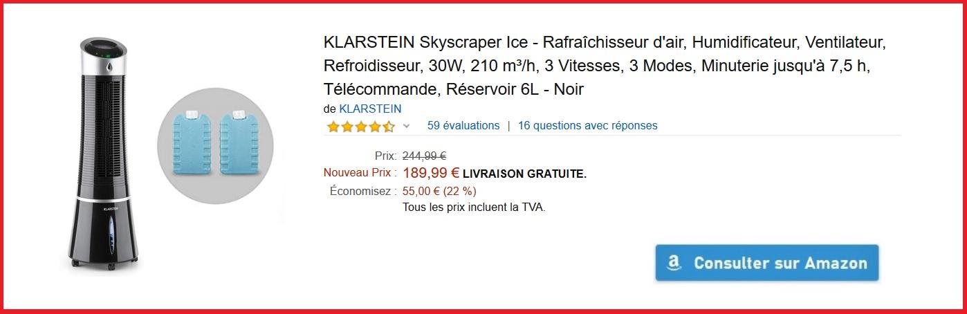Rafraîchisseur d'air Humidificateur Ventilateur KLARSTEIN Skyscraper Ice